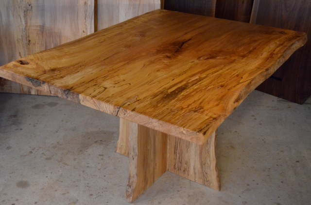 Spalted Curly Maple Dining Table with Quilted Sycamore Base
