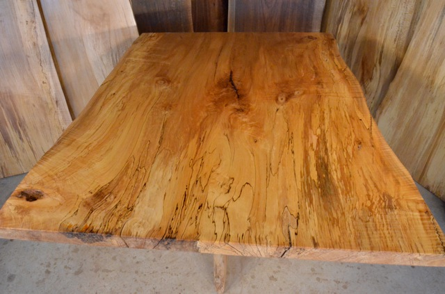 Spalted Curly Maple Dining Table with Quilted Sycamore Base2