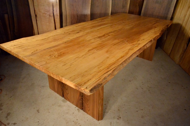 Spalted Curly Maple Table with Elm Crotch Base