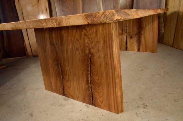 Spalted Curly Maple Table with Elm Crotch Base2