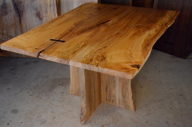 Spalted Curly Maple Table with Inlaid Ebony Butterfly