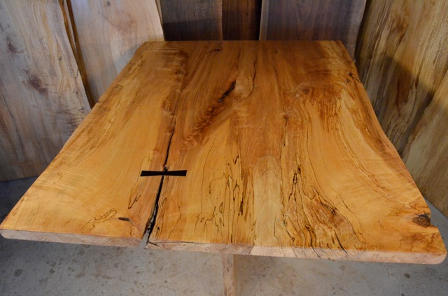 Spalted Curly Maple Table with Inlaid Ebony Butterfly2