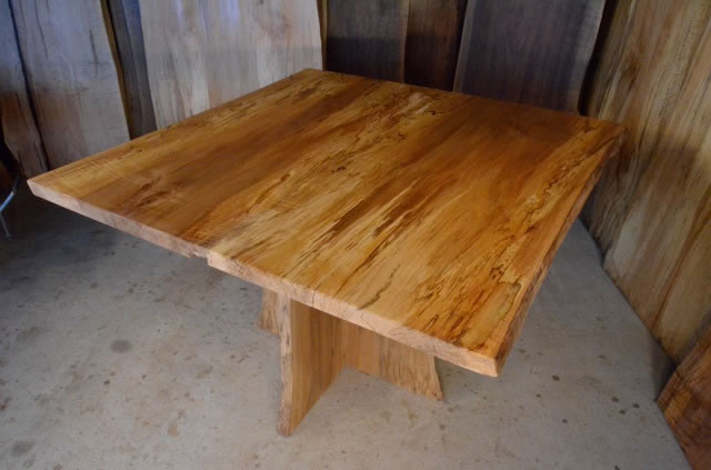 Spalted Curly Maple Table with Spalted Q Sycamore Pedestal Base