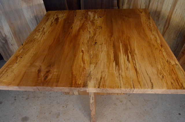 Spalted Curly Maple Table with Spalted Q Sycamore Pedestal Base2