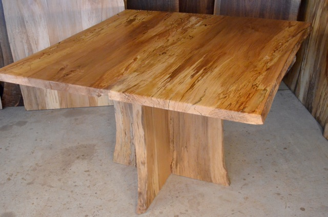 Spalted Curly Maple Table with Spalted Q Sycamore Pedestal Base3