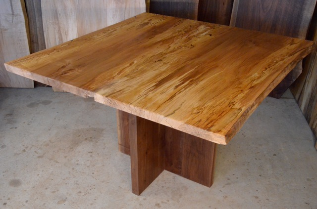 Spalted Curly Maple Table with Straight Sided Walnut Pedestal