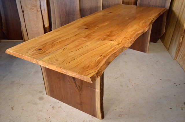 Spalted Curly Maple Table with Walnut Slab Base