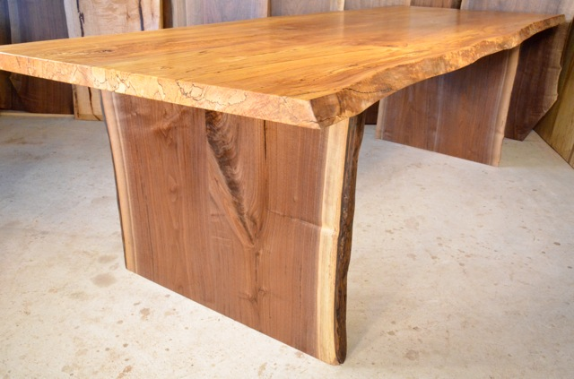 Spalted Curly Maple Table with Walnut Slab Base3