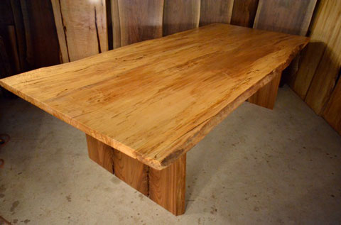 Spalted Maple table with double crotch Red Elm slab legs
