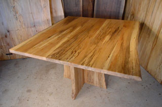 Spalted Quilted Sycamore Table w: Spalted Sycamore Base