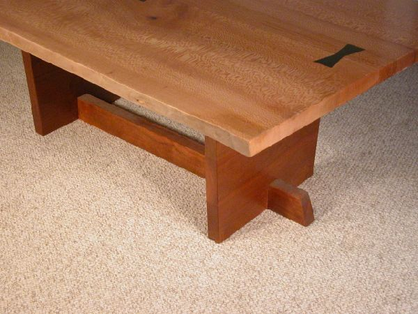Sycamore Rustic Custom Coffee Table - Sycamore Rustic Slab Custom Coffee Table: Dumond's Furniture