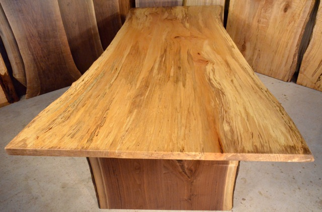 Sycamore Table With Thick Walnut Base Dumond S Custom