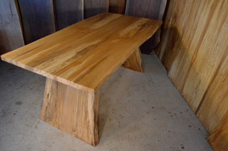 Sycamore desk with spalted Q sycamore angled legs