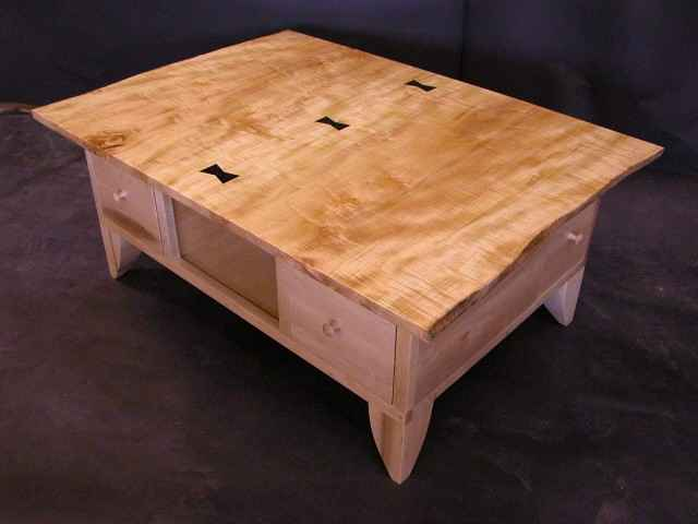 """The McDonald""- Rustic Curly Maple Slab Wooden Coffee Table"