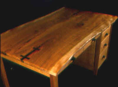 The Zuckerman-Rustic Cherry Custom Desk with Ebony Butterflies 1