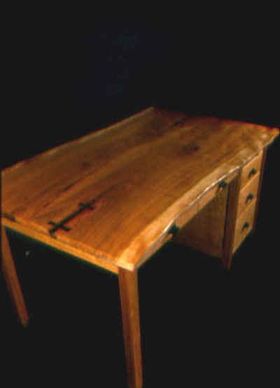 The Zuckerman-Rustic Cherry Custom Desk with Ebony Butterflies