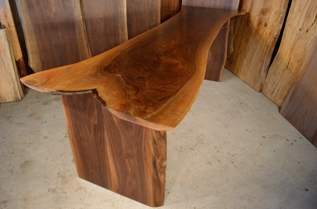 Thick Walnut Crotch Table with straight natural edge legs