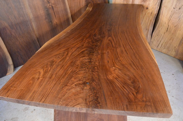 Walnut Crotch Desk with Steel I-beam Base_4