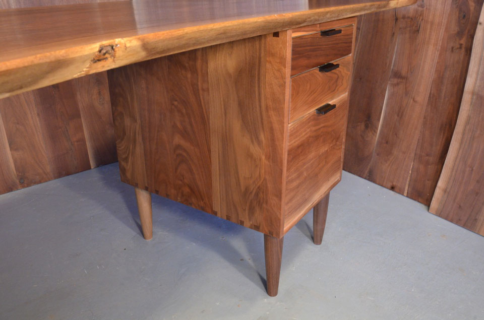 Walnut Crotch Slab Custom Executive Desk with Walnut Pedestal Base_4