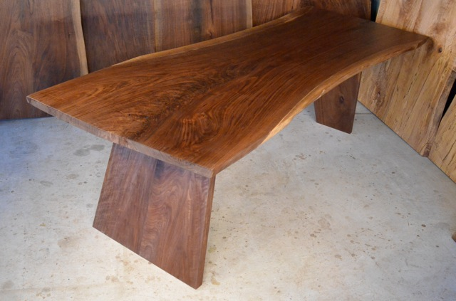 Walnut Crotch Table with Angled Walnut Base