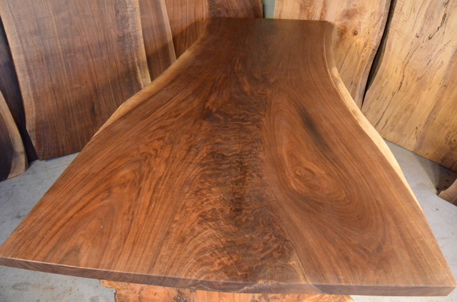Walnut Crotch Table with Burl Maple Base