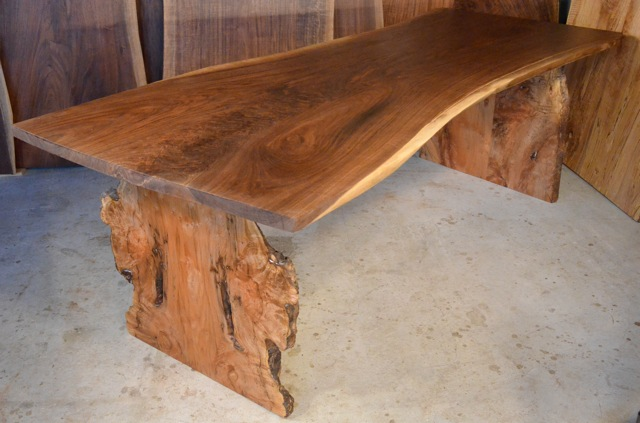 Walnut Crotch Table with Burl Maple Base2