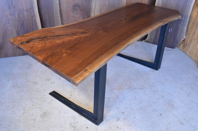 Walnut Crotch Table with C Steel Base_1