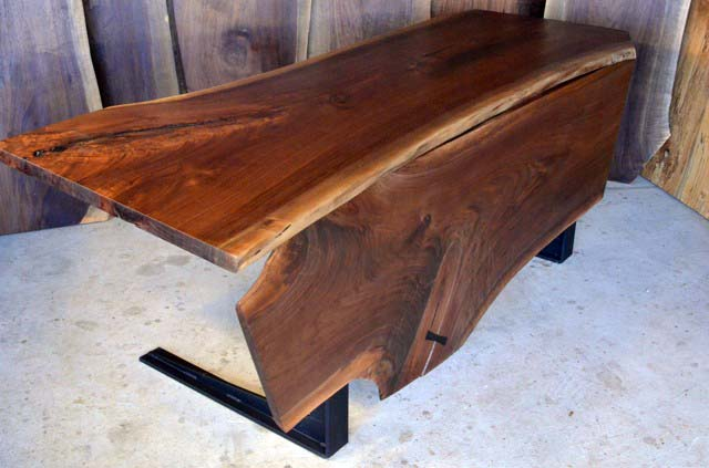 Walnut Crotch Table with C Steel Base_2