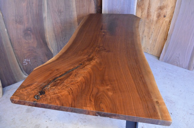 Walnut Crotch Table with C Steel Base_3