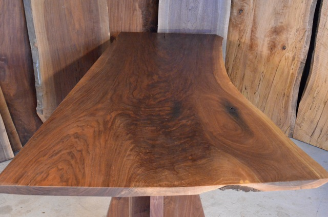 Walnut Crotch Table with Double Pedestal BAse3