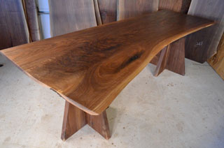 Walnut Crotch Top with Double Pedestal Base