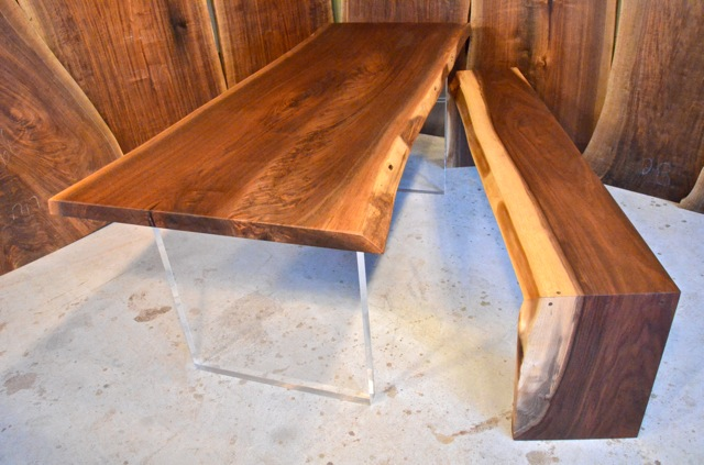 Walnut Dining Table with Acrylic and Walnut Bench