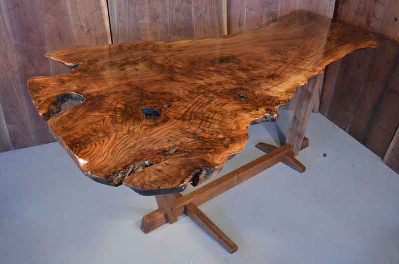 Contemporary, Modern, Rustic Handmade Burl Claro Walnut Slab With Simple And Clean Walnut Base