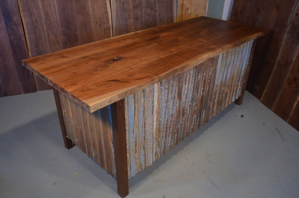 Walnut Slab Custom Executive Desk With Corrugated Steel Base 1