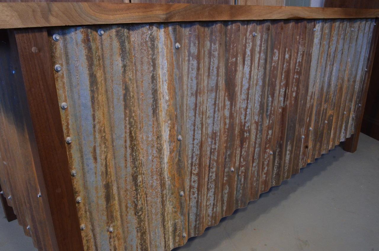 Walnut Slab Custom Executive Desk with Corrugated Steel base_2