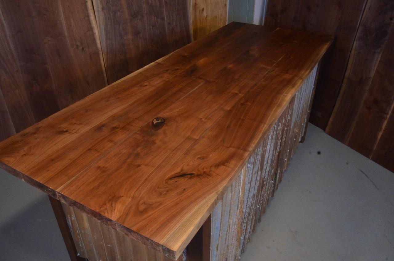Walnut Slab Custom Executive Desk with Corrugated Steel base_3