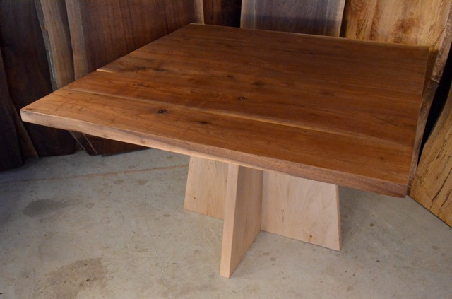 Walnut Table with Maple Pedestal Base