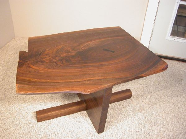 Custom Walnut Slab Wooden Coffee Table with Ebony Butterfly