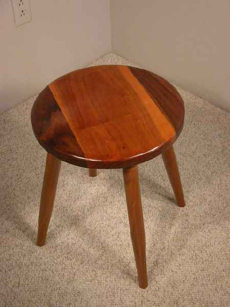 Walnut and Cherry Custom Wooden Stool
