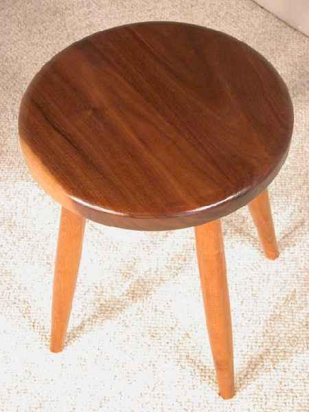 Walnut and Cherry Custom Wooden Stool