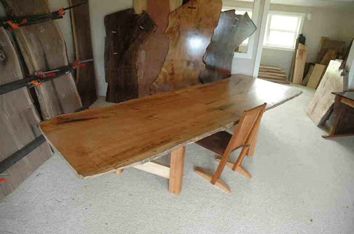 Wide book matched maple dining table