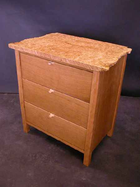cherry and maple burl nightstand