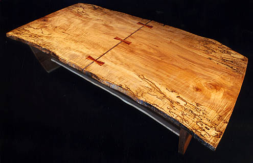 Rustic Reclaimed Wood Slab Spalted Maple Coffee Table