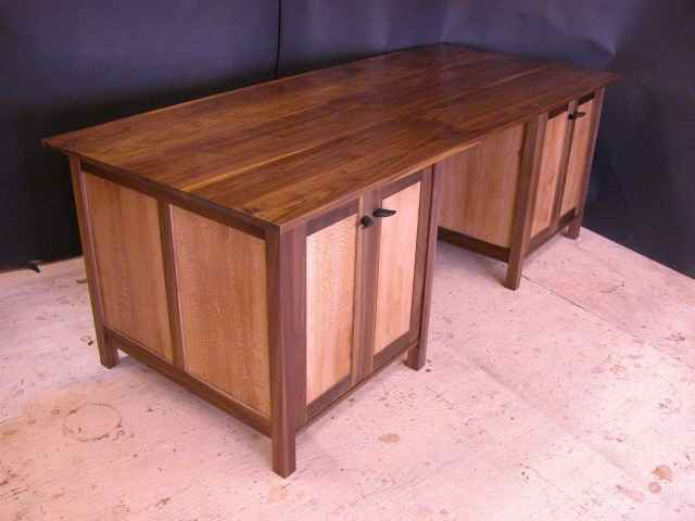 Custom Walnut and Sycamore Custom Credenza with Ebony Pulls