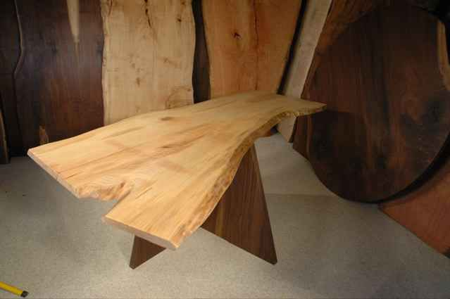 Custom Ash Crotch Slab Dining Table