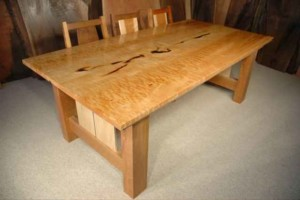 Custom Dining Table with Cherry and Curly Maple Base