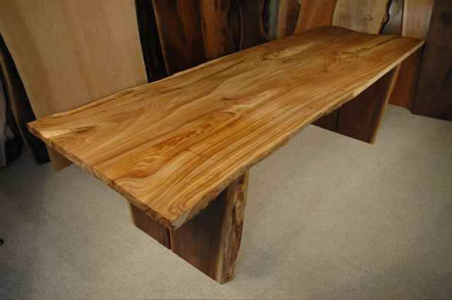 Siberian Elm Wood Slab Custom Dining Table