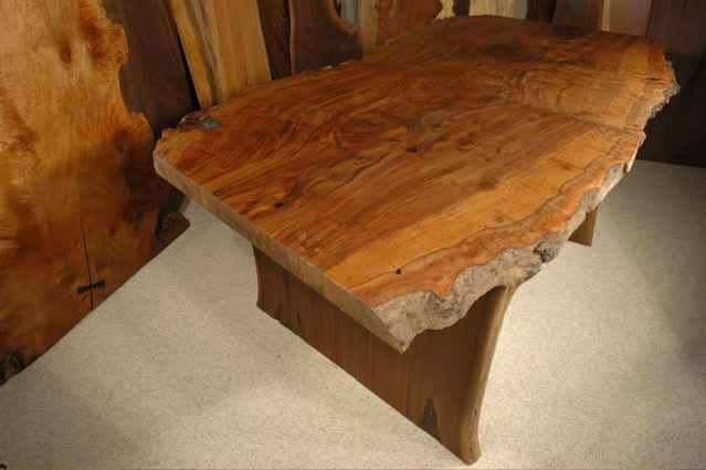Figured Claro Walnut Slab Custom Dining Table