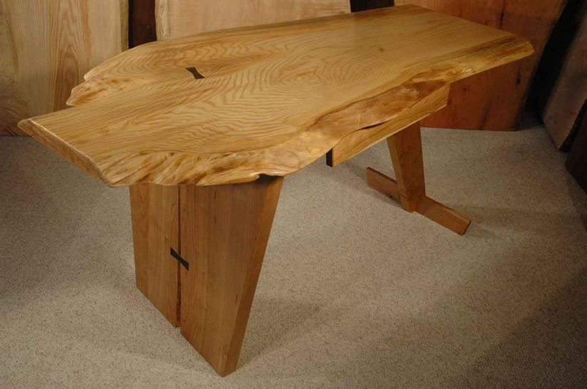 Ash and Cherry Custom Rustic Slab Nakashima Style Desk