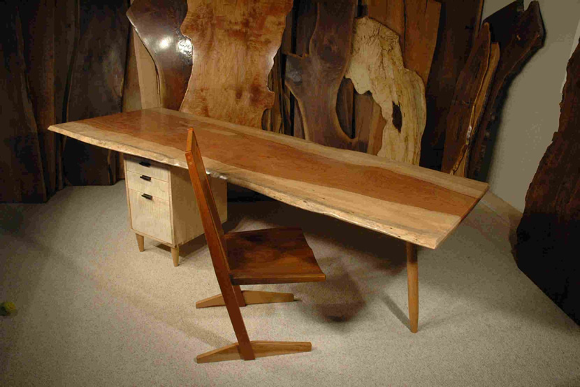 8′ Bubinga and Curly Maple Custom Nakashima Style Slab Desk